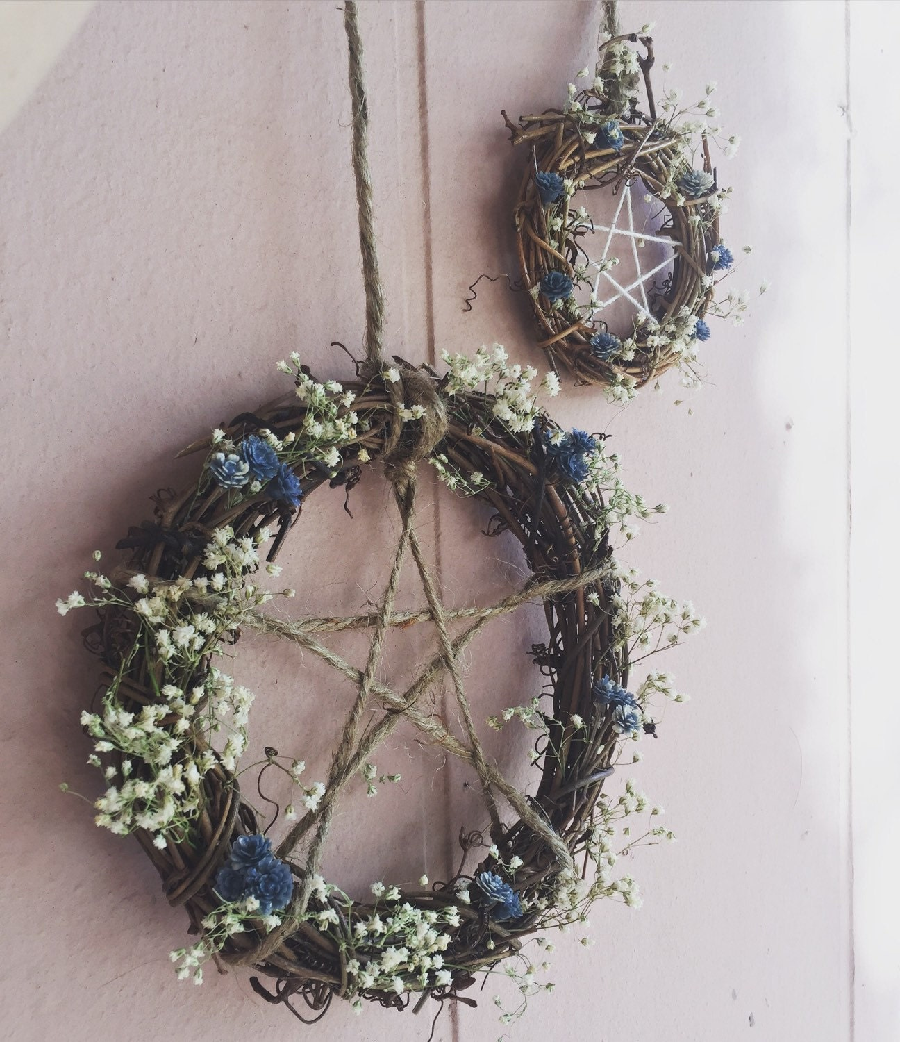 Penatgram protective home wreath altar by themoongoddessmarket for Pagan decorations for the home