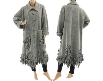 Boho long grey wool coat, fall winter spring grey coat with leaves, lagenlook grey boiled wool coat, medium to plus size M-XL, US size 12-18