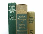 Green Shades Vintage Books / Book Decor / Instant Library / Home Decor / Books to Decorate / Decorative Books / Wedding Decor/Photo Prop