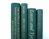 Green Vintage Books / Book Decor / Book Bundle / Books to Decorate / Wedding Decor / Home Decor / Photo Prop/ Instant Library