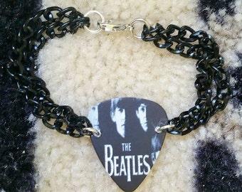 Black double chain Beatles guitar pick bracelet