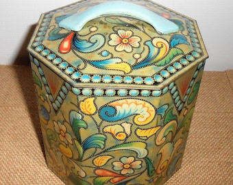Vintage Tin, Floral, Tin Can, Lid, Handle, Tin Canister, Storage, Dry Goods, Tin Can Canister