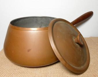 Vintage Copper Pot, Tagus, Fondue Pot, Copper Pan, Wood Handle, Sauce Pan