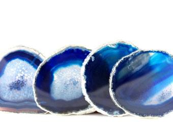 Blue Agate Coaster-- Silver Plated--Agate Coasters--Stone Coasters--Set of Four