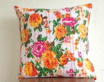 White Kantha Pillow Spring decor Floral Print on White, kantha cushion covers, girls room Pillow,