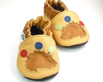 soft sole baby shoes handmade infant gift brown hedgehog yellow 2 3 Lederpuschen chaussons chaussurese garcon fille bebes  ebooba HG-5-Y-M-5
