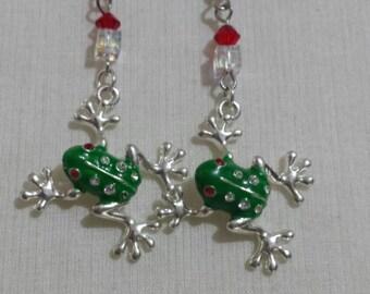 Crystal Frog Earrings