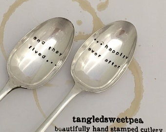 Pair of Vintage Hand Stamped 'and they lived...' Dessert spoons