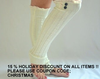 BS5364- Cable knit ivory leg warmers with lace and buttons chunky leg warmers boot socks over the knee socks birthday gifts christmas gifts