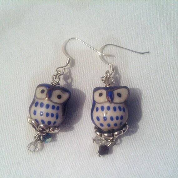 blue owl earrings blue owls owl jewelry blue ceramic owl