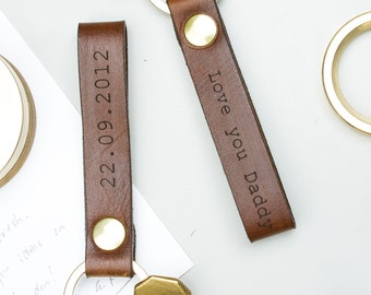 Personalised Leather Loop Keyring