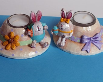 Tea Light Candle Holder, Hand Painted Resin Easter Bonnet w/ Bunny Figurine Easter Decoration, Part of Sales Supports Animal Rescue Charity