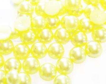 8mm Yellow Pearls Round Half Plastic Pearls 100pcs