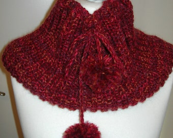 Snood tricoté main MAYA en laine, acrylique et angora - création Misty Tuss Tricote