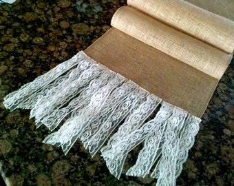 Burlap table runner wedding table runner burlap lace runner bridal shower rustic party table decor