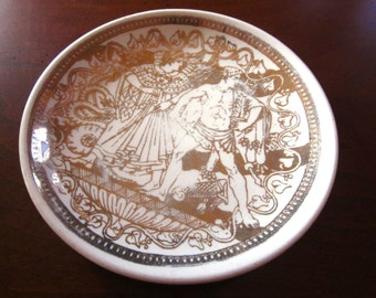 Vintage Piero Fornasetti Bonwit Teller Porcelain Coaster Milano Mitologia Greek Porcelain Gilded Decoration Signed Small Plate Pin Dish