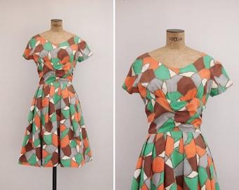 1950s Dress - Vintage 50s Geometric Print Dress - Gaudi Dress