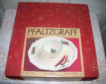 Pfaltzgraff Christmas Heritage ALL Original - Chip Dip Tray - Original Box - Barely Used