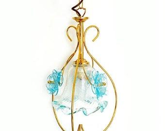 SALE Vintage Venetian Murano Chandelier, Italian Pendant Flowers  Lamp , Murano light blue glass hanging light