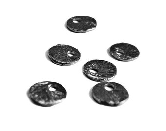 "SALE ""Black Gold"" 6mm Disk Charms 4 pcs Small Brushed Texture Round Charm"
