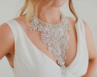 Hera - Beaded Crystal Filigree Bridal Collar