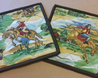 Cowboy Rodeo Quilted Potholders, Set of 2, Country Western, Bucking Bronco, Insulated Trivets, Country Kitchen Decor, Housewarming Gift