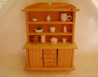 Vintage Mini Dollhouse Wood Hutch