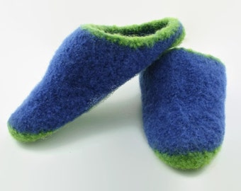 Womens green & blue felted wool slippers size 6 size 7