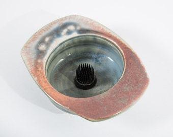 Flower Frog Vase Ceramic Bowl Metal Pin Round Glazed Planter