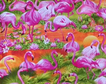 Flamingos at Sunset by Timeless Treasures- Cotton Woven- 1 yard