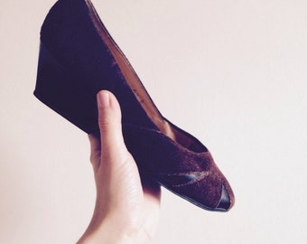 vintage 'Charles Jourdan' demi wedge heel court shoes in brown suede