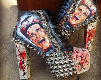 "Patrick Bateman ""American Psycho"" Studded Ankle Boots Heels"