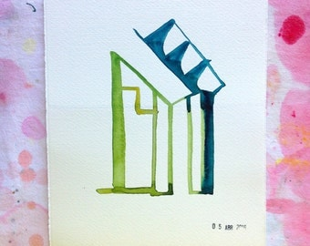 Small abstract watercolor studies on architecture. Study n.4