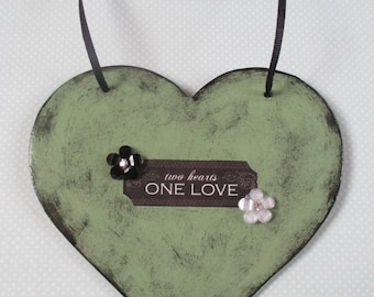 "Two hearts one love"" sage green distressed with black heart, Valentines Day"