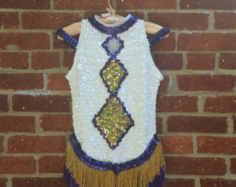 SPRING CLEANING Vtg Sequined Fringe Skirt Majorette Dance Cheerleader Leotard // Circus Uniform Costume Adult XS