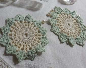 2 Vintage Seafoam Green and Beige Doilies 3 x 3 1/2""