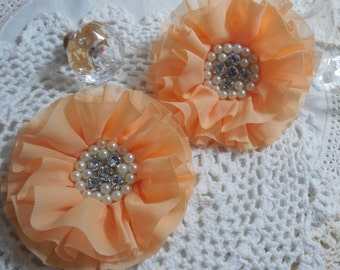 2 Light Tangerine Pearl and Rhinestones Chiffon Flowers 3.5""