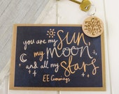 Sun, Moon And Stars Valentines Card with Wooden Keyring - Love Quote - Anniversary Cards - Book Lover - Literature Greetings Card