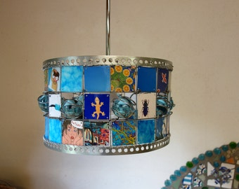 Shades of BLUE Children Recycle Hanging Lamp, turqois, Pictures and glass marbles  (As floorlamp possible)