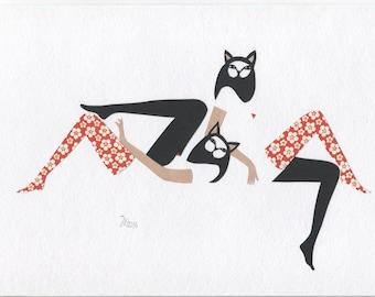 Original Paper Cutting, Paper Art, Scherenschnitt DIN A4, Cats Art