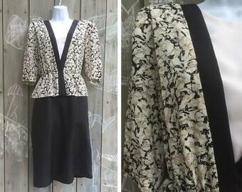 Vintage dress | 80s two-tone peplum suit dress