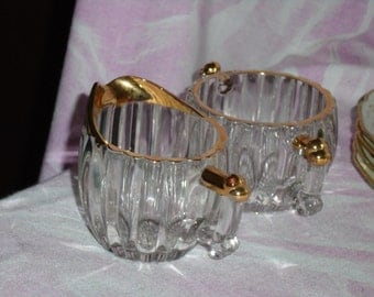 Vintage Clear Pressed Glass Sugar & Creamer w/Gold, Jeanette National Pattern
