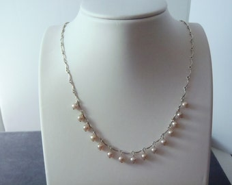 Sterling Silver Pink Pearl Necklace N3