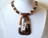 Beadwork Bead Embroidery Pendant Necklace with Brown Fire Agate - SNAKE DANCE - Fall Fashion - brown, dark brown and beige - snake necklace