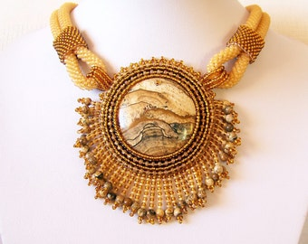 Statement Beadwork Bead Embroidery Pendant Necklace with Owyhee Picture Jasper - AMBER WHISPER - Fall Fashion - Creamy amber - brown