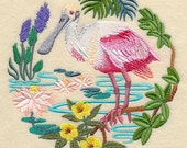 Spoonbill Scene Embroidered Decorative Absorbent White Cotton Flour Sack Towel, Linen Tea Towel, Waffle Towel, Dish Towel, Hand Towel