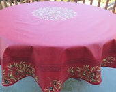 Round coated tablecloth olives in red