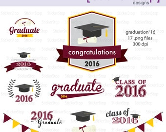 Maroon and Gold Graduation 2016 Party Invitations Digital Clipart - Instant download PNG files