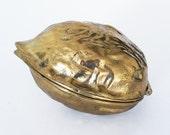 Brass Walnut Nutcracker / Vintage Brass Box