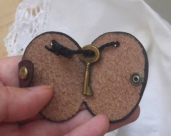 The Secret Key, Tiny Brass Key in Leather Casing, Vintage Key